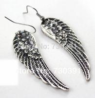 Free shipping New Fashion Elegant Lady's Retro Punk Style Old Silver Angel Wings Shape Earrings Ear Hook