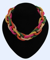 2014 New Woven Braided Twisted Design Fashion Statement Chunky Chain Collar Multicolor Necklace Wholesale Free Shipping#104887