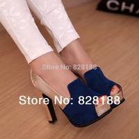 Spring 2014 New arrival Fashion women pumps Sexy black Chunky heels 12cm super high Women shoes High heels Free shipping