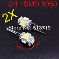 wholesale 2x Brand New G4 base 5 LED 5050-SMD Camper Cabinet Spot Yacht Marine Light Trailer Boat Lamp Bulb DC12V warm White