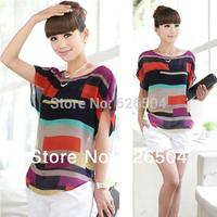 S - XXXL, Blusas Femininas 2014 New Women Fashion Hot Sale Multi-colour Striped Chiffon Shirt Loose Blouse blusa renda