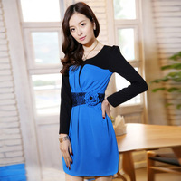 2014 New Spring Women Cute Style Full Sleeve Dress With Lace And Flowers