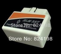 100pcs/Lot Free shipping Mini ELM327 White Color Bluetooth OBD2 Auto Diagnostic Scanner Tool Code Reader