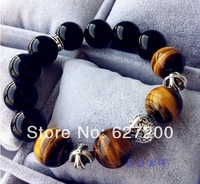 925 silver Men natural stone beaded bracelet