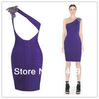 2014 purple one shoulder beaded bandage dress party dress summer girl dress evening dress