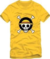 On sale Men's clothing women skull t-shirt lovers mark cartoon logo mark of luffy  hip-hop streetwear tees shirts