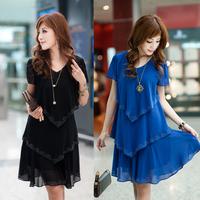 2014 plus size clothing plus size loose short-sleeve chiffon one-piece dress summer mm