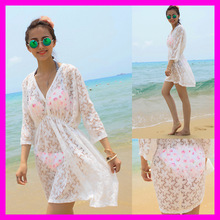 Freeshipping 2014 new summer beach swimwear lace cover ups pareo tunic dress white color(China (Mainland))
