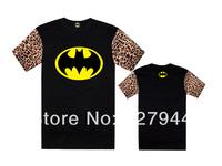 Free Shipping 2014 new arrival Batman Leopard sleeve T shirts 100% cotton Men's fashion T-shirts short sleeve Szie S-XXXL