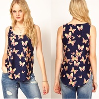 summer European style butterfly printed blouse women chiffon tank tops/camisetas mujer ropa camisas femininas blusas de gasa/WTY