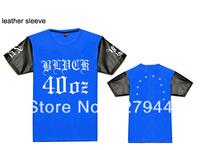 Free Shipping 2014 Hot sale 40 OZ NYC Leather sleeve T shirts 100% cotton Men's fashion T-shirts short sleeve Szie S-XXXL