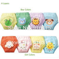 32pcs/lot 4 layers Baby Nappies Baby Training Pants Baby Boy Girl Underwears Briefs Infant Diapers Waterproof #004