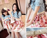 2014 Summer New Arrival Family Clothing Mother Daughter Floral Print Jeans Patchwork Fashion Bubble-Sleeve Slim Fit Dress