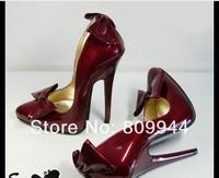 The new US-12CM nightclub burgundy bow heels 12 cm round sexy high heels