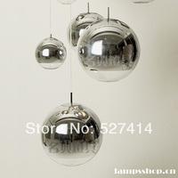 Free shipping, modern space bar restaurant silver beads, plating glass ball chandelierdiameter25cm-40cm