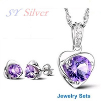"""SY Silver"" brand Luxury ladies 925 silver with platinum plated crystal Earrings and Necklace jewelry sets etherealize heart"