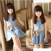 Fashion New Spring Girl Princess Dress Denim Cotton Sleeveless Girl Beach Summer Dress For 2-7y Children Jean Dress With Sashes
