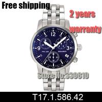 17.1.586.42 Swiss Quartz Movement Mens Chronograph Blue Dial Watch T17 T17158642 Men Sports Watches Casual Watch + Original Box