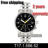 New 2014 All-Steel Strap Chronograph Mens Watch Sapphire Glass Model T17.1.586.52 Swiss Movement T17158652 T17 + Original Box