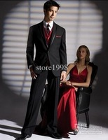 Wholesale - custom size and color in a black suit vest red evening dress and groom groomsman groomsmen men wedding dress Groom (