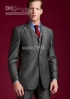 Wholesale - side ventilation V -neck men's dress and groom best man wedding suit ( jacket + pants + tie + vest ) M135