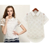 new spring 2014 tops for women Short Sleeve Lace blouse chiffon fashion work wear casual clearance ladiessummer women clothing