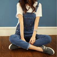2014 women's large pocket loose strap denim plus size overalls pants free shipping