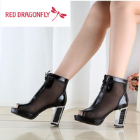 New spring shoes, leather high-heeled rhinestone mesh fish head hollow short women's boots