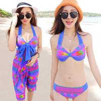 2014 swimwear female women size steel push up bikini dress hot spring female women swimsuit  323