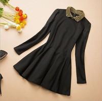 New 2014 Spring Brand Black Chiffon Dresses Luxury Beading Peter Pan Collar Vintage Dress Women Puff Sleeve Dress