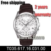 New Sapphire Glass Brown Leather Strap Watches ETA Swiss Quartz Men's Chronograph Watch T035.617.16.031.00 T035 + Original Box