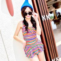 2014 swimwear fashion multicolour stripe sexy one-piece dress boxer swimwear  323