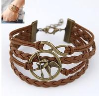 Hunger Game Charm Bracelet Fashion Leather Bracelet  cxt9807