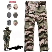 Male Camouflage pants male jungle tooling multi pocket pants loose straight trousers  free shipping
