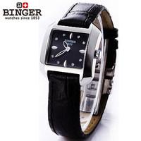 Hot Sale Exquisite Elegant Thin Platinum Dial Wrist Watch Black Leather Fashion Ladies CZ Diamond Quartz Square Watches Gift