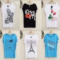 New 2014 Fashion Women T Shirt 54 Pattern Printed Styles Plus Size Colorful Modal Wear Soft  Short  shirt  Top Shirt  Femininas