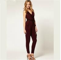Deep V-neck ruffle sleeveless jumpsuit Full fashion overalls sizes XS-XXL