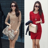 New 2014 spring and autumn women ladies casual dress OL temperament bottoming plus size bodycon dresses