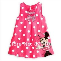 2014 Hot designs,New baby girl's Minnie sleeveless Dot dress, baby sweet dress, fit 1-5 years ,5 pcs/lot