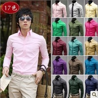 2014 rushed direct selling cotton full satin zipper violet all-match men shirt solid color casual male fashion candy long-sleeve