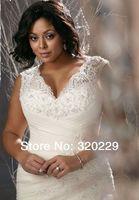 Free Shipping!! 2014 Elegant mermaid white/ivory lace v-neck organza wedding dress  LJ-844
