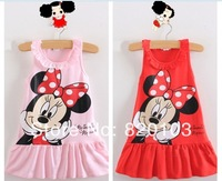 Hot sale !!! New style naughty Minnie mouse lotus leaf collar sleeveless lace straps baby girl dress ,5pcs/lot