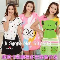 female summer short-sleeve cartoon milk silk nightgown sleepwear hyraxes young girl chromophous lounge women's robes of cotton
