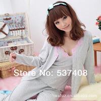 2013 sleepwear lounge set brief autumn and winter cotton women's grey three piece set sleepwear