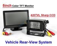 Car rear view system 5inch TFT Monitor 420tvl Sharp CCD IP68 Camera 120 degree angle view