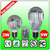 AC100-240V RGB Lamp 2 Million Colors 9W E27 GU10 led Bulb with Remote Control led lighting RGB Lighting