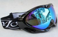 New Double Lens Polarized Anti Fog Windproof Ski Goggles UV400 Protection Europe Style Snow Glasses Black frame colorful blue