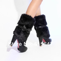 Women's Stiletto High Heels Platform Furry Knee High Boots Pumps Snow Shoes  us size4 4.5 5 6 7 8 910 10.5 11 black brown white