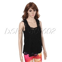 Sexy Black Lace Floral Sleeveless Pullover Hollow Crochet Knit Vest Tank Top