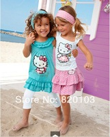 Baby Girl's 3piece suit sets Hello kitty Children's clothing sets short sleeve shirts+skirts/pants+ headwear Freeshipping
